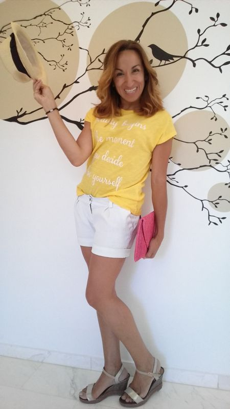 yellow tshirt and white short