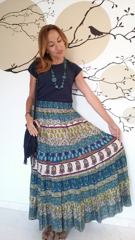 Falda estampada hippie