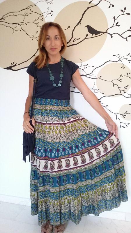 Falda hippie estampada