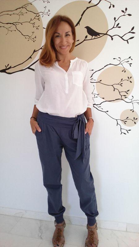 Pantalón tendencia lazo cintura elástico tobillo