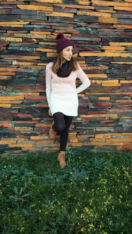 Vestido rosa lana